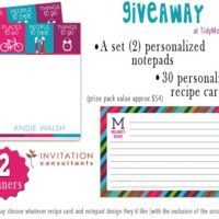 Invitation Consultants Giveaway at TidyMom.net win Personalized recipe cards & notepads