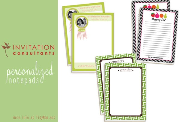 Personalized Notepads at TidyMom.net