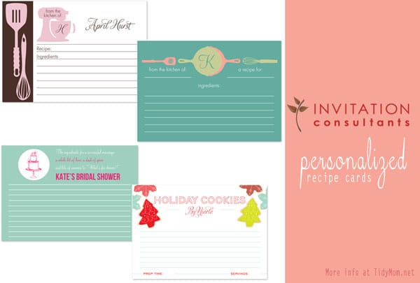 Personalized Recipe Cards at Tidymom.net