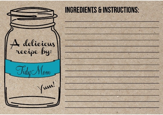 TidyMom personalized recipe card
