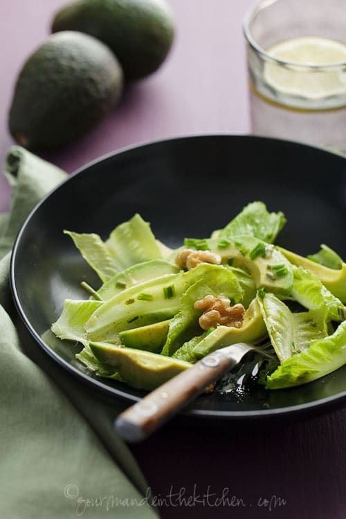 Avocado and Romaine Salad with Walnuts at Gourmande in the Kitchen