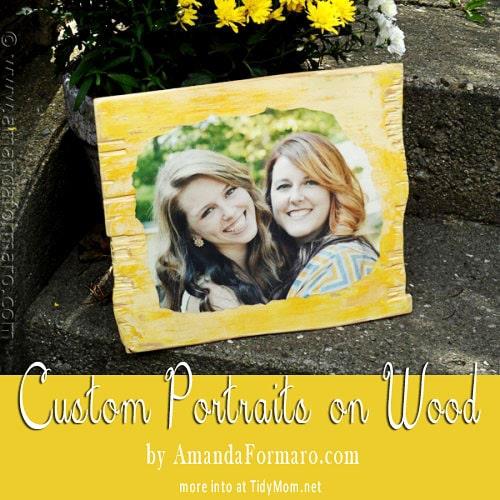 Custom Portrait on Wood for TidyMom by Amanda Formaro