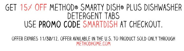 Save 15% on Method Smarty Dish Dishwasher Tabs