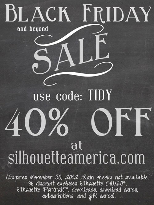 black friday Silhouette sale at TidyMom.net