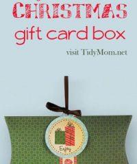 easy printable Christmas gift card box at TidyMom.net