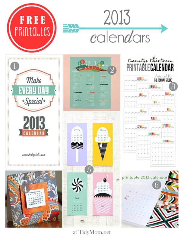 2013 printable calendars at TidyMom.net