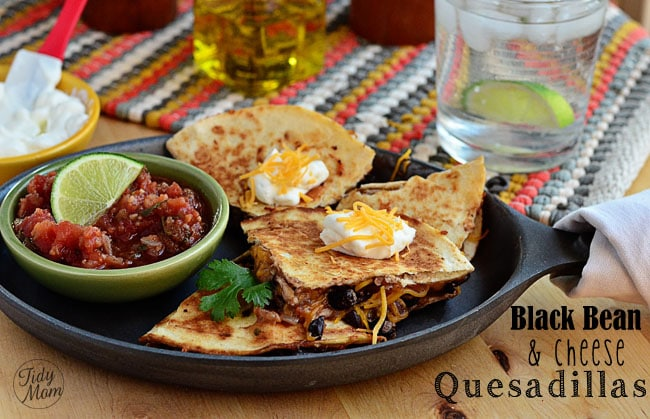 Black Bean and Cheese Quesadillas recipe at TidyMom.net
