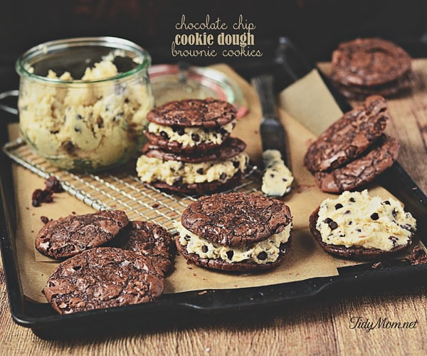decadent brownie sandwich cookie filled with chocolate chip cookie ...