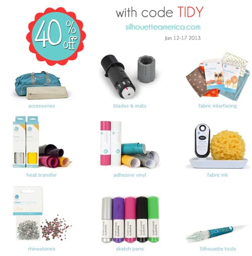 Silhouette accessories and vinyl 40% off with code TIDY