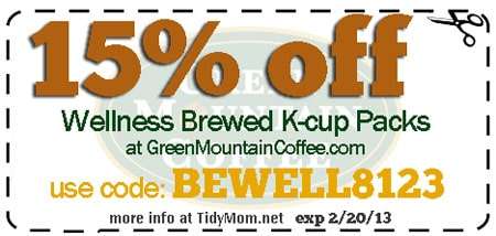Green Mountain Coffee Wellness coupon at TidyMom.net