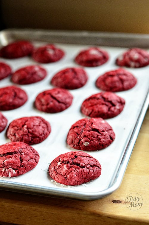 Red Velvet Gooey Butter Cookie baked at TidyMom.net