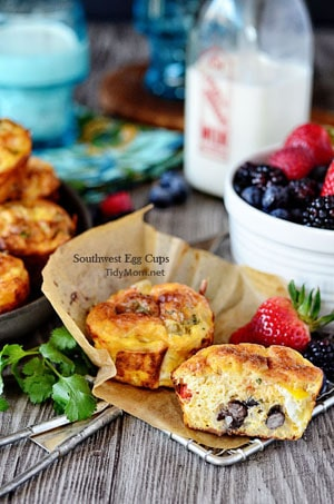 Southwest Baked Egg Cups at TidyMom