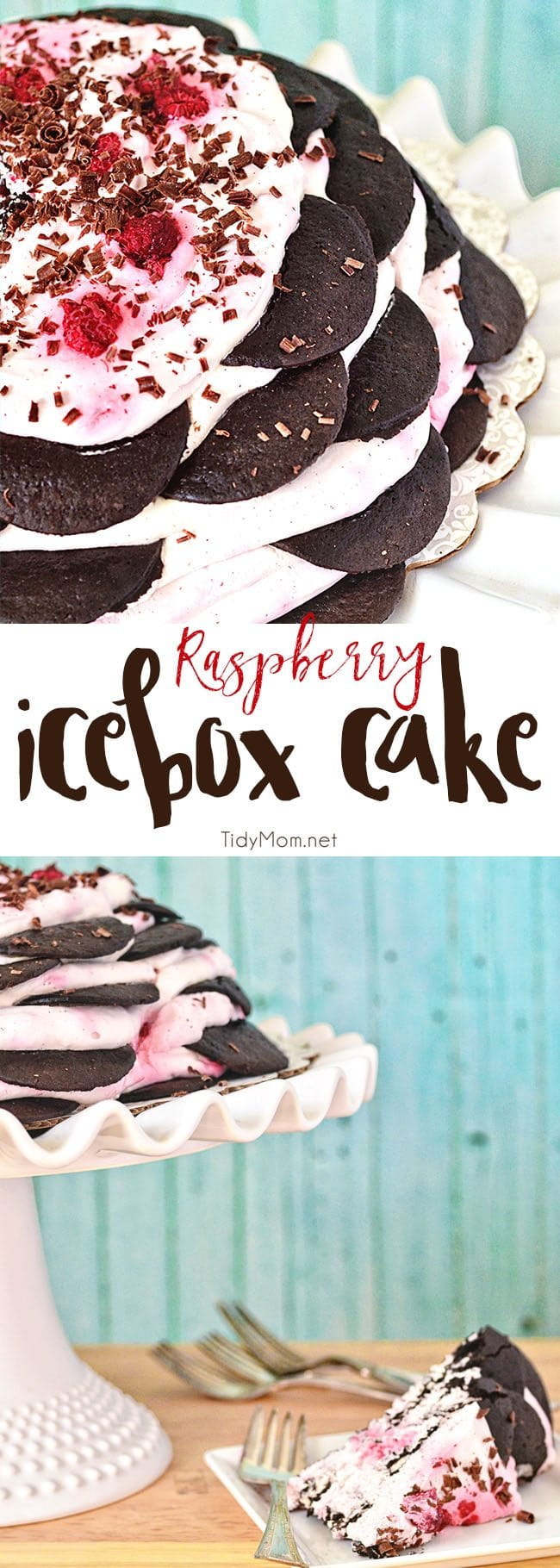 Raspberry Icebox cake is an easy, no-bake dessert with layer after layer of chocolate wafers and raspberry whipped cream.Get the full printable recipe at TidyMom.net