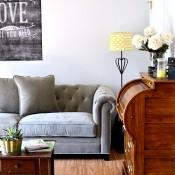 tufted back gray sofa at Tidymom.net