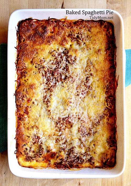 Baked Spaghetti Pie recipe at TidyMom
