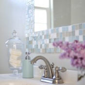 diy mosaic tile bathroom mirror at centsationalgirl.com