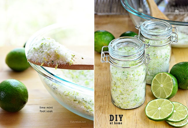 DIY Lime Mint Foot Soak at TidyMom