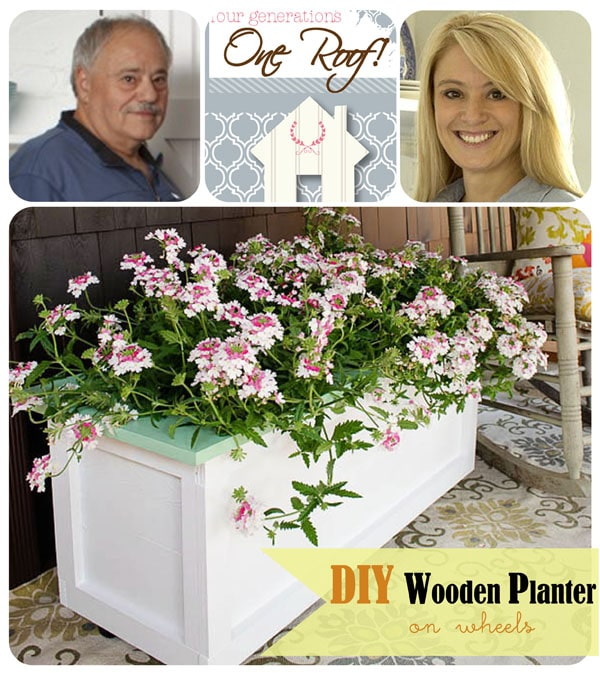 DIY Wood Planter on Wheels Tutorial from fourgenerationsoneroof.com at TidyMom.net