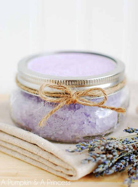 Homemade Lavender Bath Salts at www.apumpkinandaprincess.com