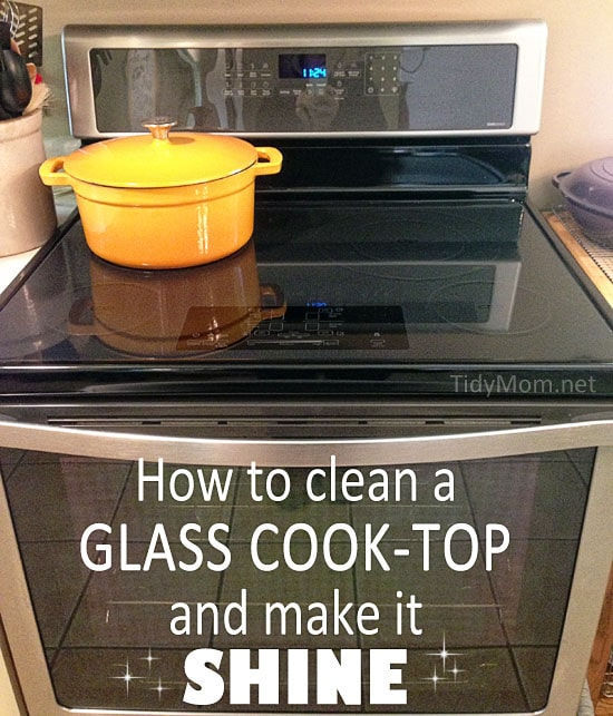 Hot soapy water and baking soda is all you need to get your glass cooktop looking clean and shiny! Ever wonder HOW TO CLEAN A GLASS COOKTOP and make is SHINE? Get a detailed how-to tidy tip on how to clean a glass cooktop at TidyMom.net