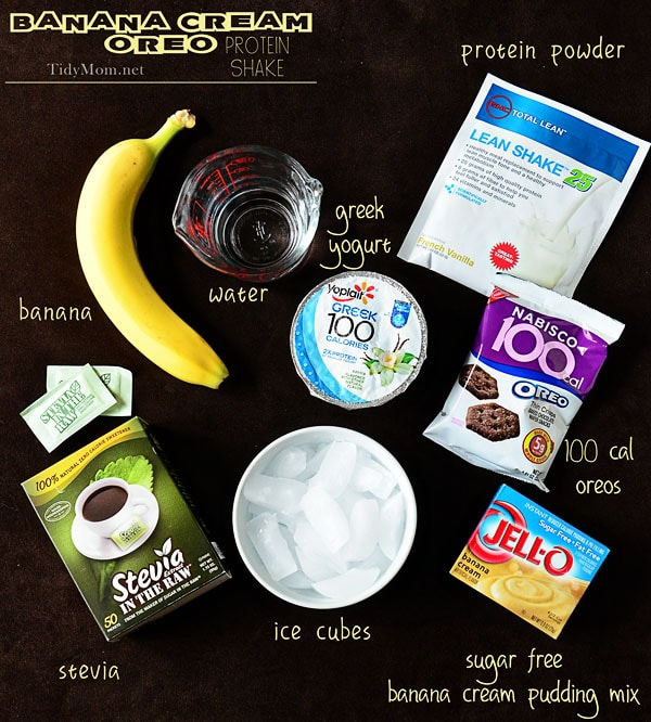 How to make a Banana Cream Oreo Protein Shake at TidyMom