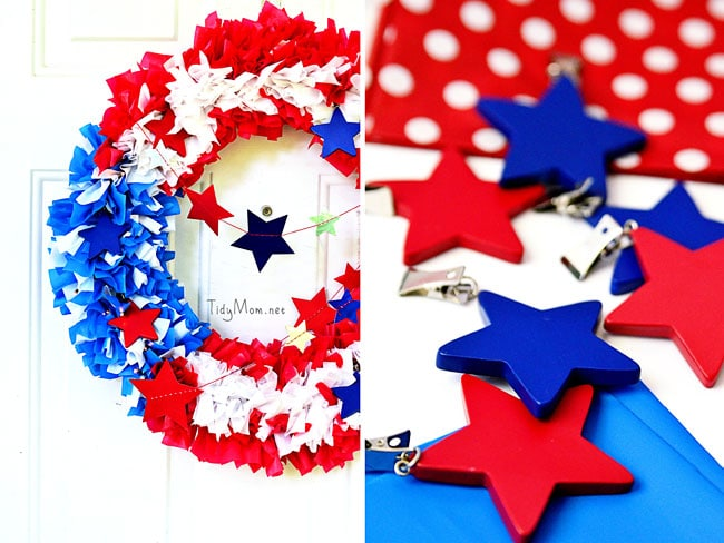How to Make a Tablecloth Patriotic Wreath