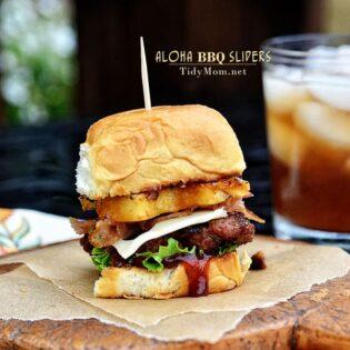 Aloha BBQ Sliders | burger recipe at TidyMom.net