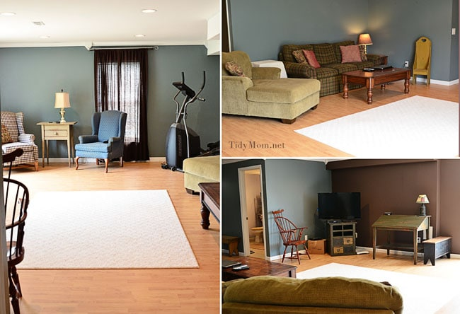 Finished Basement with Mohawk Smartstrand carpet rug at TidyMom.net