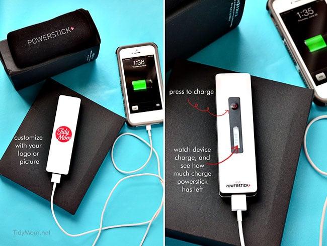 Portable, customized Charges from Powerstick.com | more info at TidyMom.net