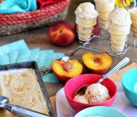 Roasted Brown Sugar Peaches and Cream Frozen Custard recipe at TidyMom.net