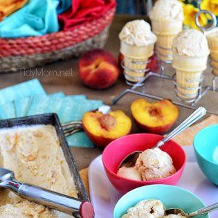 Roasted Brown Sugar Peaches and Cream Frozen Custard recipe at TidyMom.net