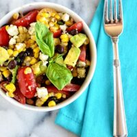 Refreshing and Simple Summer Side Dish. Black Bean and Roasted Corn Salad | recipe at TidyMom.net