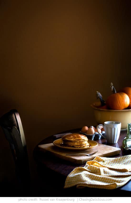 Pumpkin Pancakes by Russel van Kraayenburg at ChasingDelicious.com