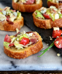 Blue Cheese Wedge Salad Crostini   Appetizer recipe at TidyMom.net