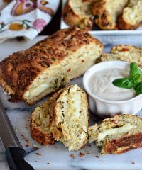 Cheese Stuffed Chicken & Spinach Pizza Bread.  Recipe at TidyMom.net