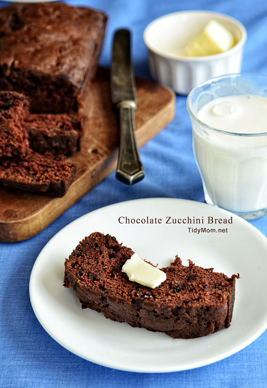 Chocolate Zucchini Bread recipe at TidyMom.net