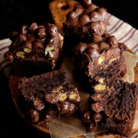 Double Chocolate Peanut Butter Crunch Black Bean Brownies. Recipe at TidyMom.net