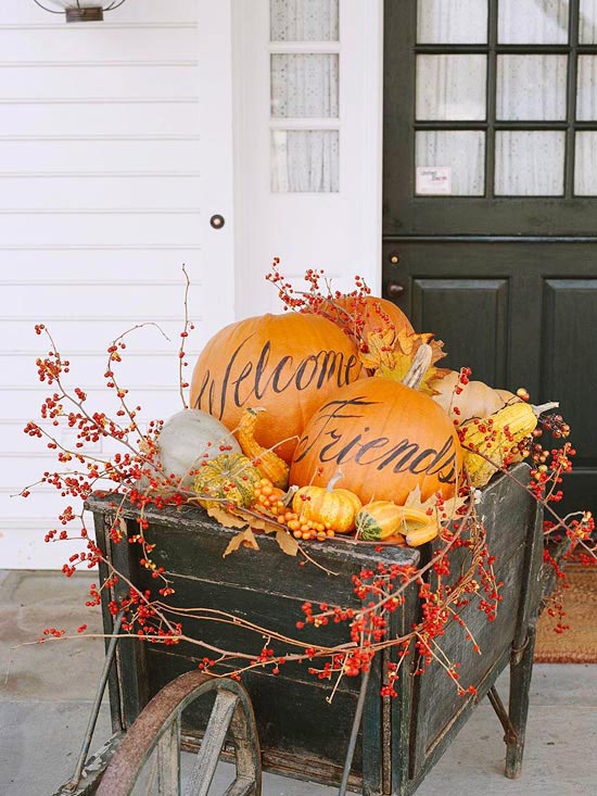 Fall Harvest Welcome Wheelbarrow