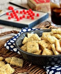 Homemade Rach Cheese Crackers.  Recipe at TidyMom.net