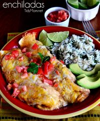 Easy Chicken & Cheese Enchiladas.  Recipe at TidyMom.net