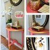 Gold and Coral Table and decor.  Details at TidyMom.net