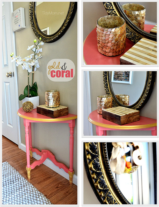 DIY Gold & Coral Table and decor.  Details at TidyMom.net