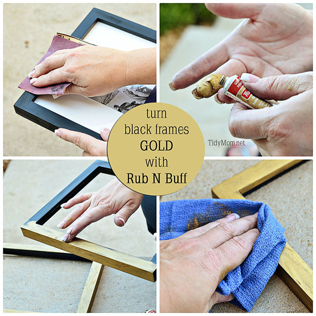 Easily turn black frames GOLD using Rub N Buff - at Tidymom.net