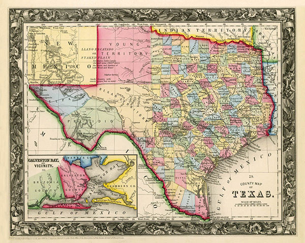 Vintage State Map of Texas print - at TidyMom.net