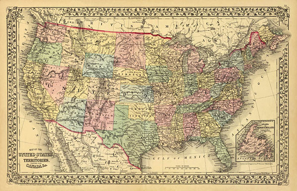 Antique Map of United States print at TidyMom.net