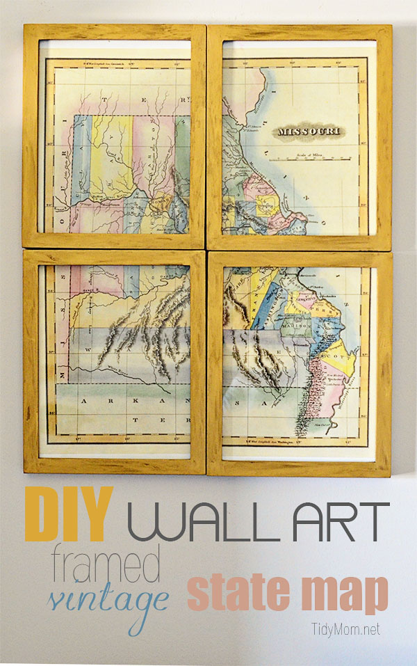 diy wall art framed vintage state map at tidymomnet