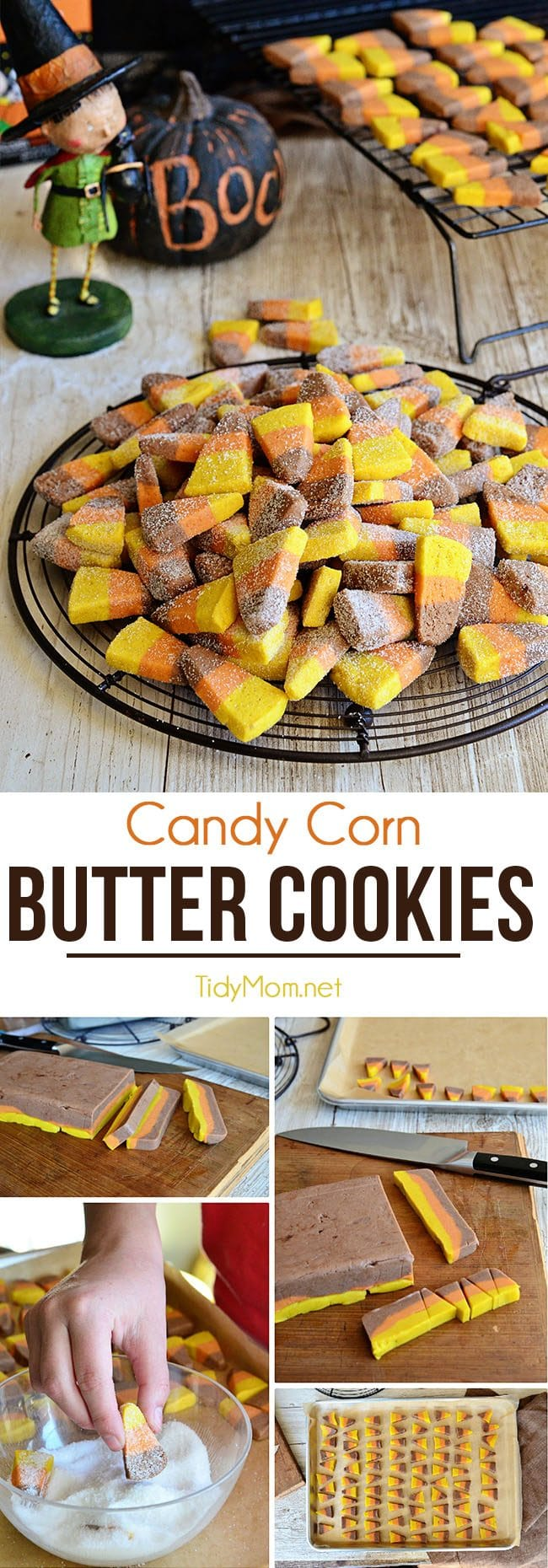 These candy corn shaped cookies come together in a flash…. no rolling or cookie cutters involved! Candy Corn Butter Cookie recipe and tutorial at TidyMom.net