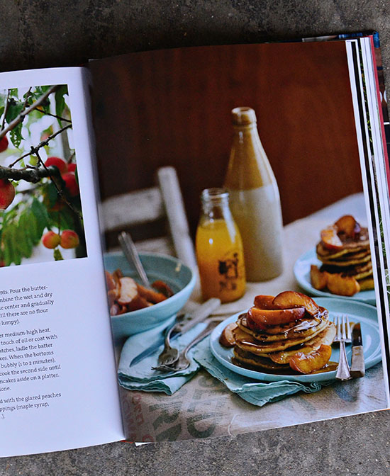 bountiful sauteed peaches with brown butter pancakes
