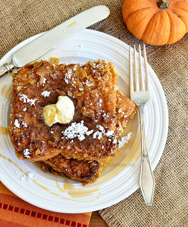 Bacon Fried Crunchy Coated Pumpkin French Toast recipe at TidyMom.net