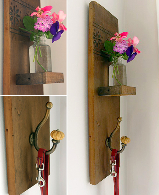 DIY Reclaimed Wood Sconce with Hook tutorial from Pretty Handy Girl at ...